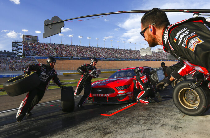 Daniel Suarez pits during a NASCAR Cup Series auto race at Las Vegas Motor Speedway on Sunday, Sept. 15, 2019. (AP Photo/Chase Stevens)