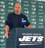 New York Jets head coach Robert Saleh speaks to reporters at the team's NFL football training camp facility in Florham Park, N.J., Tuesday July 27, 2021. (AP Photo/Dennis Waszak Jr.)