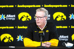 Iowa head coach Fran McCaffery speaks to reporters during Iowa Hawkeyes men's NCAA college basketball media day, Monday, Nov. 9, 2020, at the Feller Club Room of Carver-Hawkeye Arena in Iowa City, Iowa.  (Joseph Cress/Iowa City Press-Citizen via AP)