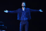Duncan Laurence of the Netherlands reacts after performing his song