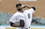 Detroit Tigers starting pitcher Francisco Liriano throws during the third inning of a baseball game, Tuesday, May 15, 2018, in Detroit. (AP Photo/Carlos Osorio)