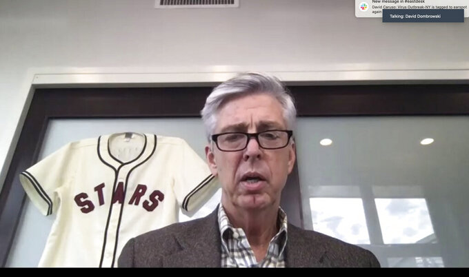 This screengrab from a Zoom call shows David Dombrowski, the Philadelphia Phillies' new president of baseball operations, during a Zoom call Friday, Dec. 11, 2020.  Having won titles with Florida in 1997 and Boston in 2018, Dombrowski was hired by Philadelphia and tasked with leading the Phillies to their first championship since 2008. (Zoom via AP)