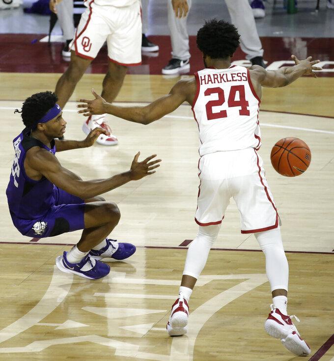 TCU's RJ Nembhard (22) passes the ball away from Oklahoma's Elijah Harkless (24) during the second half of an NCAA college basketball game in Norman, Okla., Tuesday, Jan. 12, 2021. (AP Photo/Garett Fisbeck)