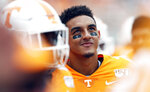 Tennessee quarterback Jarrett Guarantano (2) watches the Jumbotron in the second half of an NCAA college football game against Chattanooga Saturday, Sept. 14, 2019, in Knoxville, Tenn. Tennessee won 45-0. (AP Photo/Wade Payne)