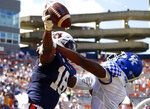 Auburn wide receiver Seth Williams (18) catches a pass for a touchdown over Kentucky defensive back Kelvin Joseph (1) during the fourth quarter of an NCAA college football game on Saturday, Sept. 26, 2020, in Auburn, Ala. (AP Photo/Butch Dill)