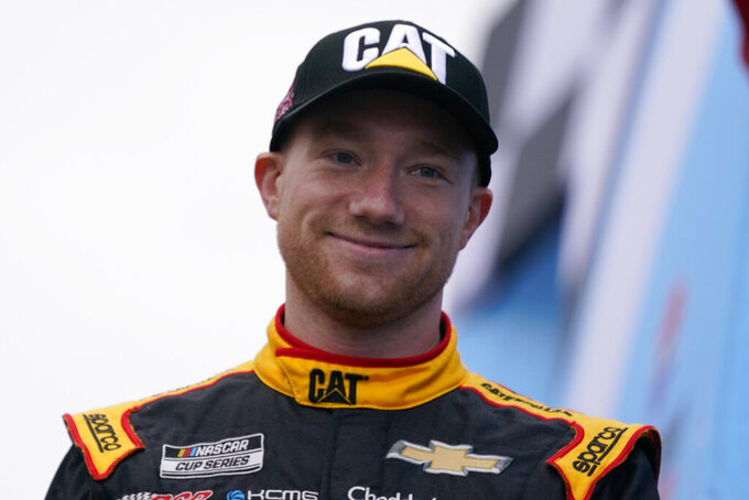 Tyler Reddick at a NASCAR Cup Series auto race, Sunday, July 18, 2021, in Loudon, N.H. (AP Photo/Charles Krupa)