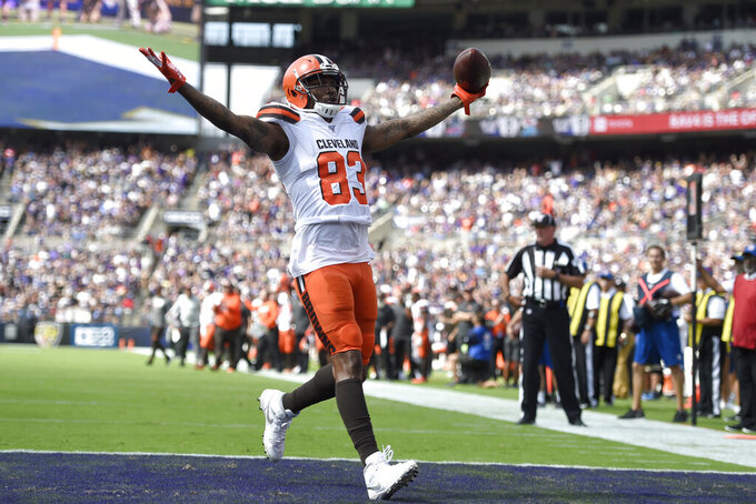 Cleveland Browns tight end Ricky Seals-Jones reacts after scoring a touchdown on a pass from quarterback Baker Mayfield against the Baltimore Ravens during the first half of an NFL football game Sunday, Sept. 29, 2019, in Baltimore. (AP Photo/Gail Burton)