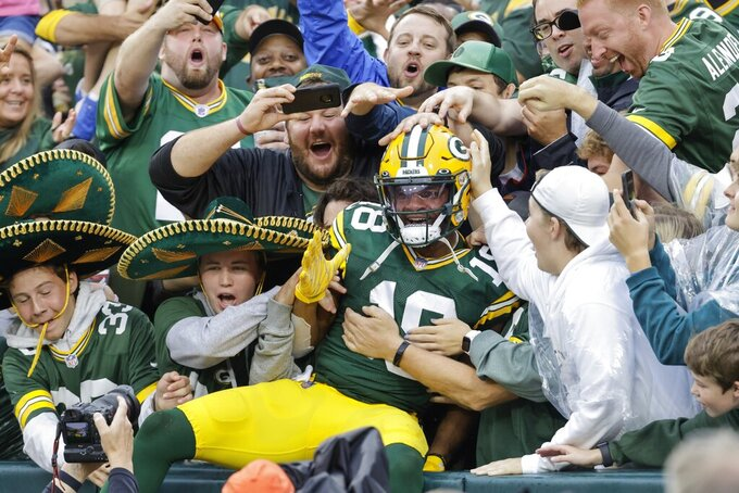 Green Bay Packers' Randall Cobb celebrates his touchdown catch during the first half of an NFL football game against the Pittsburgh Steelers Sunday, Oct. 3, 2021, in Green Bay, Wis. (AP Photo/Mike Roemer)