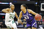 Kansas State guard Christianna Carr (43) drives to the basket as Baylor guard Chloe Jackson (24) defends during the second half of an NCAA college basketball game in the Big 12 women's conference tournament in Oklahoma City, Sunday, March 10, 2019. (AP Photo/Alonzo Adams)