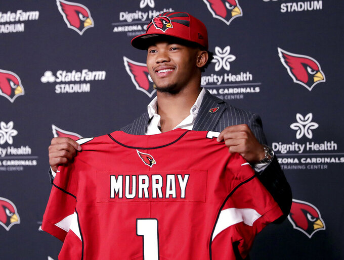 Arizona Cardinals NFL football quarterback Kyler Murray is introduced, Friday, April 26, 2019, at the Cardinals' practice facility in Tempe, Ariz. Murray was the first overall pick in the 2019 NFL Football draft. (AP Photo/Matt York)