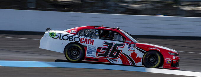 Alex Labbe (36) during practice for the NASCAR Xfinity Series auto race at Indianapolis Motor Speedway, Friday, Aug. 13, 2021, in Indianapolis. (AP Photo/Doug McSchooler)