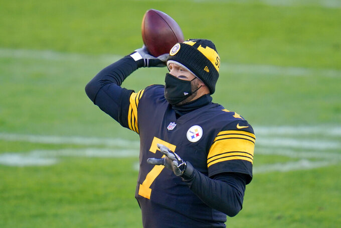 Pittsburgh Steelers quarterback Ben Roethlisberger (7) warms up before an NFL football game against the Baltimore Ravens, Wednesday, Dec. 2, 2020, in Pittsburgh. (AP Photo/Gene J. Puskar)
