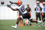Cleveland Browns wide receiver Jarvis Landry (80) catches a pass during NFL football practice in Berea, Ohio, Wednesday, July 28, 2021. (AP Photo/David Dermer)