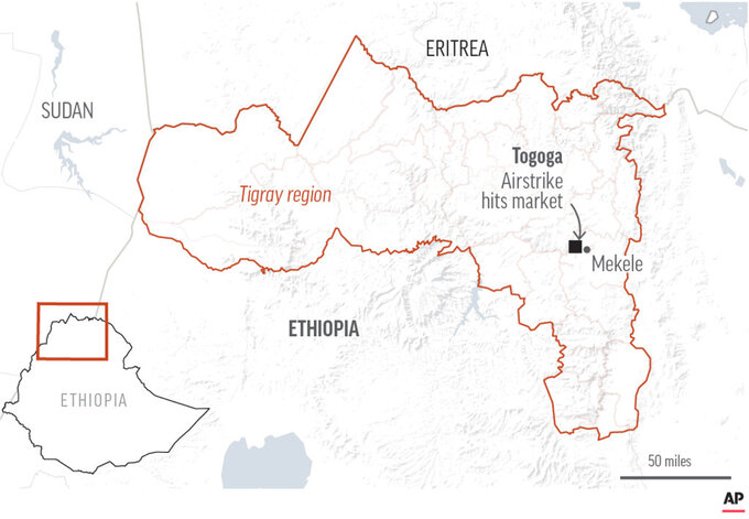 Health workers in Ethiopia's Tigray region say an airstrike has hit a busy village market.