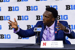 Nebraska safety Deontai Williams talks to reporters during an NCAA college football news conference at the Big Ten Conference media days, Thursday, July 22, 2021, at Lucas Oil Stadium in Indianapolis. (AP Photo/Doug McSchooler)