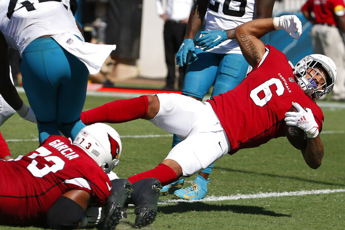 Arizona Cardinals running back James Conner (6) dives to the end zone on a 1-yard run against the Jacksonville Jaguars during the second half of an NFL football game, Sunday, Sept. 26, 2021, in Jacksonville, Fla. (AP Photo/Stephen B. Morton)