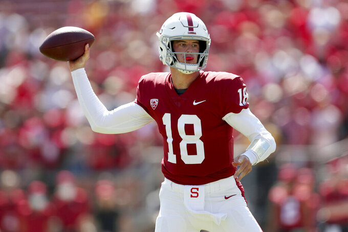 Stanford's Tanner McKee throws against Oregon during the first half of an NCAA college football game in Stanford, Calif., Saturday, Oct. 2, 2021. (AP Photo/Jed Jacobsohn)