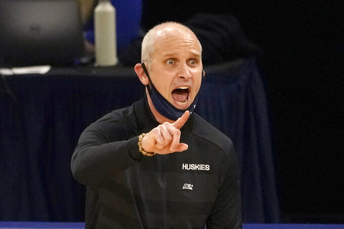 UConn head coach Dan Hurley directs his team during the second half of an NCAA college basketball game against DePaul, Monday, Jan. 11, 2021, in Chicago. (AP Photo/Charles Rex Arbogast)