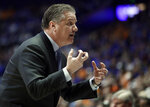 Kentucky head coach John Calipari yells to his players in the first half of an NCAA college basketball game against Tennessee at the Southeastern Conference tournament Saturday, March 16, 2019, in Nashville, Tenn. (AP Photo/Mark Humphrey)