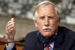 Sen. Angus King, I-Maine, asks questions during the Senate Armed Services Committee hearing on the Department of Defense Spectrum Policy and the Impact of the Federal Communications Commission's Ligado Decision on National Security during the COVID-19 coronavirus pandemic on Capitol Hill in Washington, Wednesday, May 6, 2020. (Greg Nash/Pool via AP)