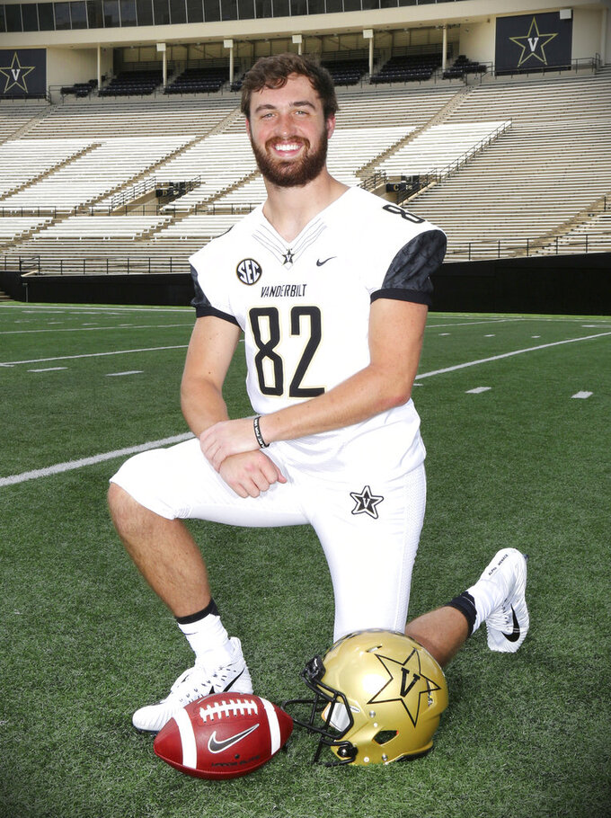 This photo provided by Vanderbilt University shows Vanderbilt tight end Turner Cockrell. Cockrell, 21, died Thursday, Nov. 29, 2018, at home after battling cancer for more than a year. (Vanderbilt University via AP)