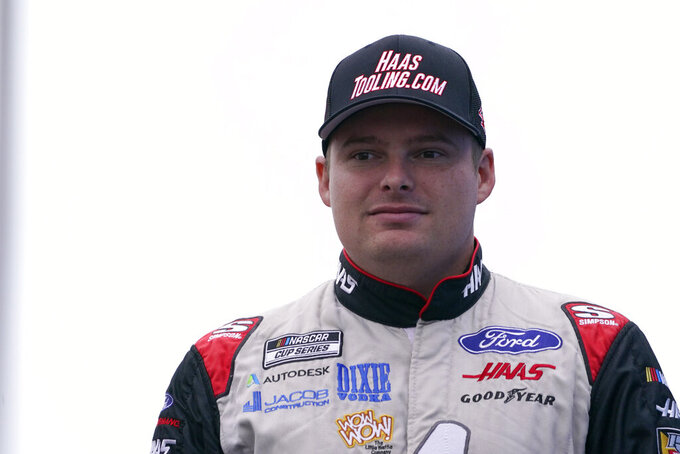 Cole Custer at a NASCAR Cup Series auto race, Sunday, July 18, 2021, in Loudon, N.H. (AP Photo/Charles Krupa)