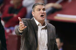 Boston College head coach Jim Christian argues a call during the first half of an NCAA men's college basketball game against Notre Dame in Boston, Wednesday, Feb. 26, 2020. (AP Photo/Charles Krupa)