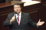 Rep. Randy Fine, R-South Brevard County, closes on a gambling bill during a special session, Wednesday, May 19, 2021, in Tallahassee, Fla. (AP Photo/Steve Cannon)