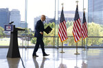 Democratic presidential candidate and former Vice President Joe Biden walks from the podium after speaking at the Constitution Center in Philadelphia, Sunday, Sept. 20, 2020, about the Supreme Court. (AP Photo/Carolyn Kaster)