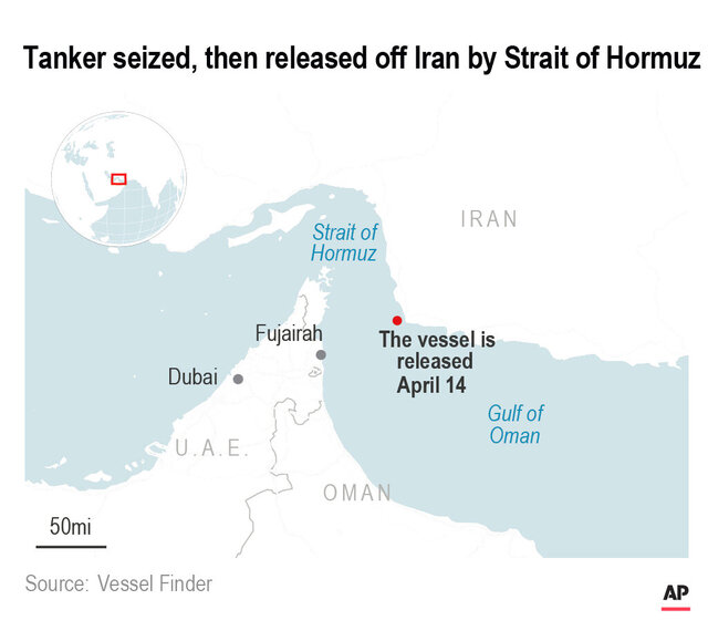 Authorities say armed men boarded a Hong Kong-flagged tanker ship off the coast of Iran near the crucial Strait of Hormuz. They held the ship Tuesday for a short time before releasing it .;