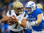Navy quarterback Garret Lewis (7) avoids the tackle from Air Force linebacker Kyle Johnson (40) during an NCAA college football game at Falcon Stadium at the U.S. Air Force Academy, Saturday Oct. 6, 2018, in Colorado Springs, Colo.  (Dougal Brownlie,/The Gazette via AP)