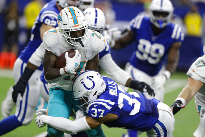 Miami Dolphins running back Kalen Ballage (27) is tackled by Indianapolis Colts safety Khari Willis (37) during the second half of an NFL football game in Indianapolis, Sunday, Nov. 10, 2019. (AP Photo/Darron Cummings)