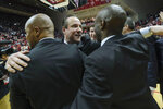 Wichita State head coach Gregg Marshall, center, congratulates his staff after defeating Indiana 73-63 in an NCAA college basketball game in the third round of the NIT tournament in Bloomington, Ind., Tuesday, March 26, 2019. Wichita State won 73-63. (AP Photo/AJ Mast)