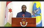 In this UNTV image, Evariste Ndayishimiye, President of Burundi, speaks in a pre-recorded video message during the 75th session of the United Nations General Assembly, Thursday, Sept. 24, 2020, at UN headquarters in New York. The U.N.'s first virtual meeting of world leaders started Tuesday with pre-recorded speeches from heads-of-state, kept at home by the coronavirus pandemic. (UNTV via AP)