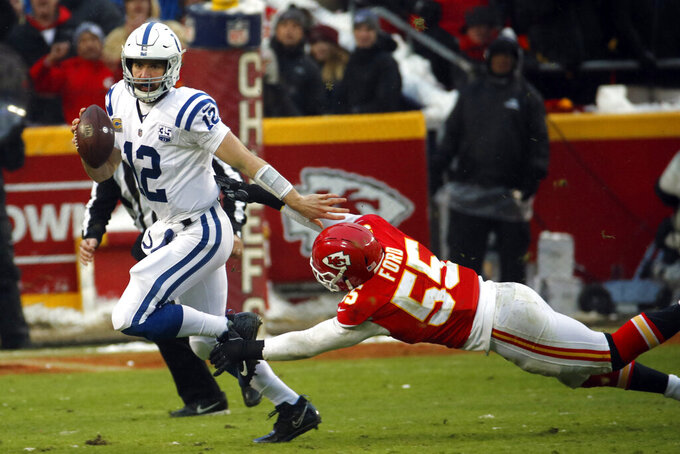 Indianapolis Colts quarterback Andrew Luck (12) runs away from a tackle attempt by Kansas City Chiefs linebacker Dee Ford (55) during the first half of an NFL divisional football playoff game in Kansas City, Mo., Saturday, Jan. 12, 2019. (AP Photo/Charlie Riedel)