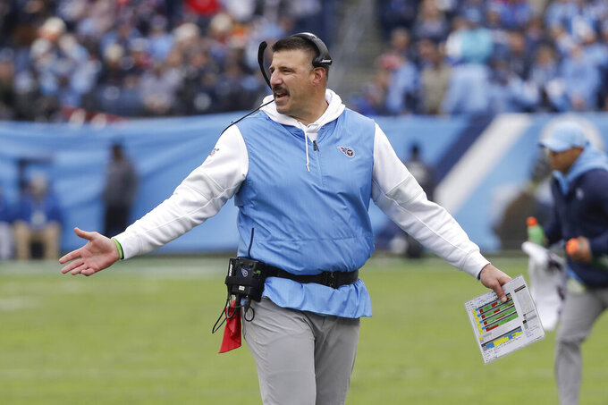 Tennessee Titans head coach Mike Vrabel watches from the sideline in the second half of an NFL football game against the Houston Texans Sunday, Dec. 15, 2019, in Nashville, Tenn. (AP Photo/James Kenney)