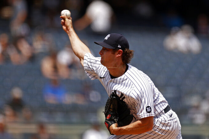New York Yankees pitcher Gerrit Cole throws during the first inning of a baseball game against the Chicago White Sox on Saturday, May 22, 2021, in New York. (AP Photo/Adam Hunger)