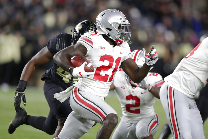 Ohio State wide receiver Parris Campbell (21) runs against Purdue during the first half of an NCAA college football game in West Lafayette, Ind., Saturday, Oct. 20, 2018. (AP Photo/Michael Conroy)