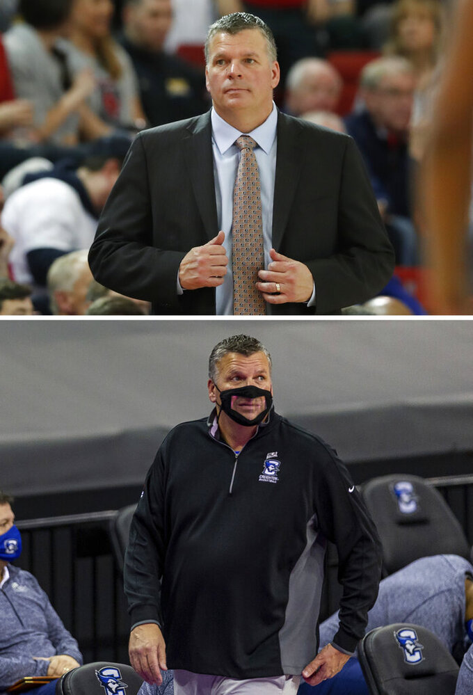 FILE - At top, Creighton head coach Greg McDermott appears resigned during the second half of an NCAA college basketball game against St. John's in New York, in a March 1, 2020, file photo. At bottom, Creighton coach McDermott watches the game action against Xavier during an NCAA college basketball game in Omaha, Neb., in a Dec. 23, 2020, file photo. College basketball coaches have eschewed the traditional game day attire of coats, ties and dress slacks in favor of polos, quarter-zips and warmup pants. The trend started over the summer with NBA coaches who went casual when the league re-started its season at Walt Disney World resort near Orlando. McDermott said he doesn't plan to dress up for games again. (AP Photo/File)