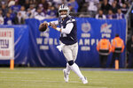 Dallas Cowboys quarterback Dak Prescott (4) looks to pass during the first quarter of an NFL football game against the New York Giants , Monday, Nov. 4, 2019, in East Rutherford, N.J. (AP Photo/Adam Hunger)