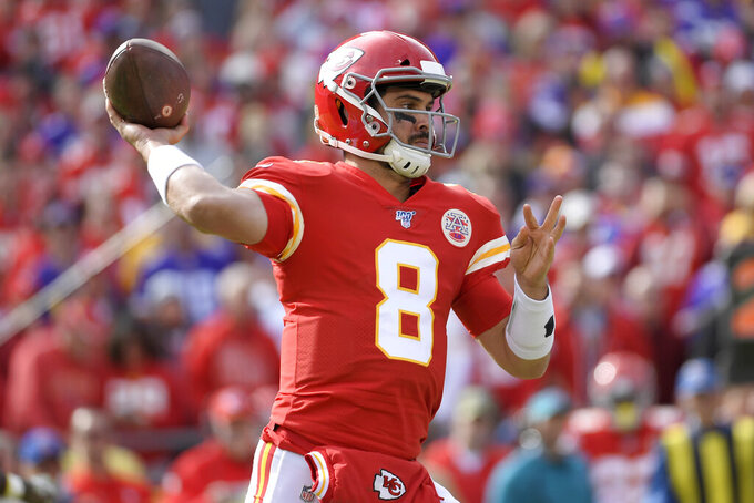 Kansas City Chiefs quarterback Matt Moore (8) throws a pass during the first half of an NFL football game against the Minnesota Vikings in Kansas City, Mo., Sunday, Nov. 3, 2019. (AP Photo/Reed Hoffmann)