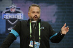 FILE - In this Feb. 25, 2020, file photo, Carolina Panthers head coach Matt Rhule speaks during a press conference at the NFL football scouting combine in Indianapolis  The 2020 NFL Draft is April 23-25.(AP Photo/Michael Conroy, File)