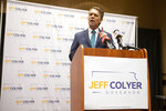 Former Gov. Jeff Colyer announces his run for Kansas governor with the help of an endorsement by Kansas senator Roger Marshall at the Capitol Plaza Hotel in Topeka, Kan., on Monday, April 19, 2021. (Evert Nelson/The Topeka Capital-Journal via AP)