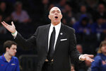 DePaul coach Dave Leitao reacts to a call against the team during the second half of an NCAA college basketball game against Xavier in the first round of the Big East men's tournament Wednesday, March 11, 2020, in New York .DePaul won 71–67. (AP Photo/Kathy Willens)