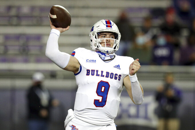 Louisiana Tech quarterback Luke Anthony (9) passes the ball against TCU in the first half during an NCAA college football game, Saturday, Dec. 12, 2020. (AP Photo/Richard W. Rodriguez)