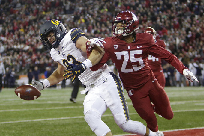 Washington State safety Skyler Thomas (25) disrupts a pass intended for California tight end Ian Bunting during the first half of an NCAA college football game in Pullman, Wash., Saturday, Nov. 3, 2018. (AP Photo/Young Kwak)