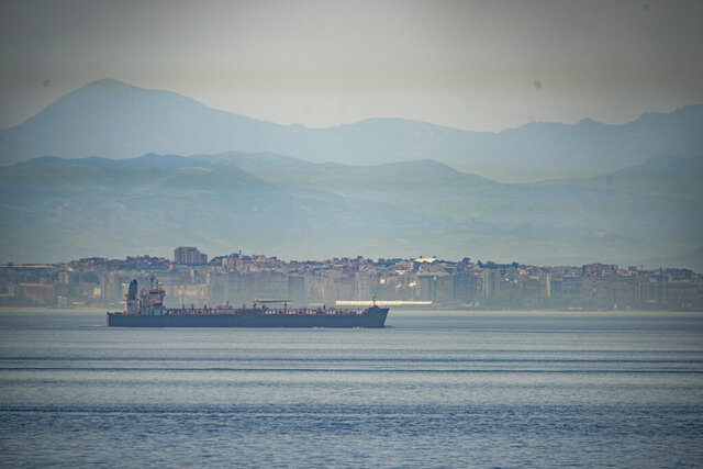 A view of the vessel the Clavel sailing on international waters crossing the Gibraltar stretch on Wednesday, May 20, 2020. Five Iranian tankers likely carrying at least $45.5 million worth of gasoline and similar products are now sailing to Venezuela, part of a wider deal between the two U.S.-sanctioned nations amid heightened tensions between Tehran and Washington. (AP Photo/Marcos Moreno)