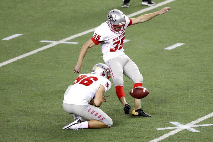 New Mexico place kicker George Steinkamp (35) attempts but misses a field goal against Hawaii during the third quarter of an NCAA college football game, Saturday, Nov. 7, 2020, in Honolulu. (AP Photo/Marco Garcia)