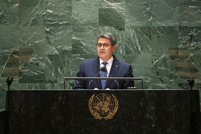 Honduras' President Juan Orlando Hernandez Alvarado addresses the General Debate during the 76th session of the United Nations General Assembly, Wednesday, Sept. 22, 2021, at UN headquarters. (Eduardo Munoz/Pool Photo via AP)