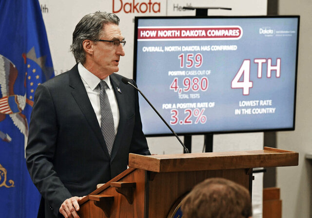 North Dakota Gov. Doug Burgum speaks during a news conference, Thursday, April, 2, 2020 in Bismarck, N.D. North Dakota officials say they are confident the state will have enough hospital beds and equipment to handle the coming flood of coronavirus cases. The one thing they're worried about in a worst-case scenario is having enough health care workers. (Tom Stromme/The Bismarck Tribune via AP)